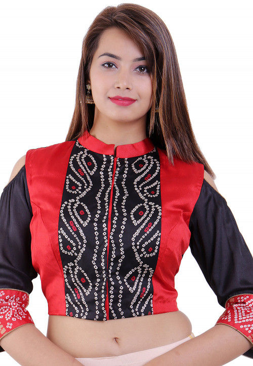 Bandhej Printed Crepe Padded Blouse in Red And Black