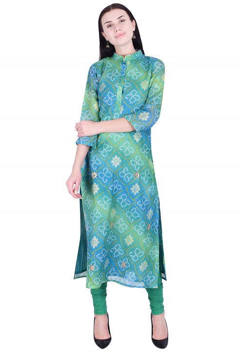 Bandhej Printed Kota Silk Kurta in Shaded Green and Blue