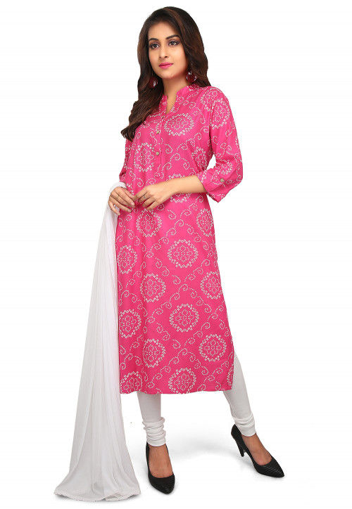 Bandhej Printed Rayon Straight Suit in Pink