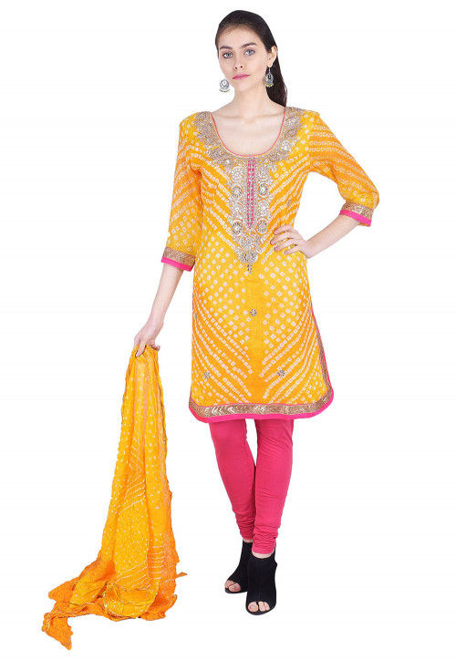 Bandhej Pure Silk Straight Suit in Yellow
