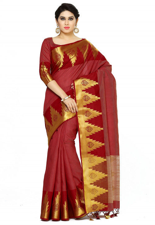 Bangalore Silk Saree in Maroon