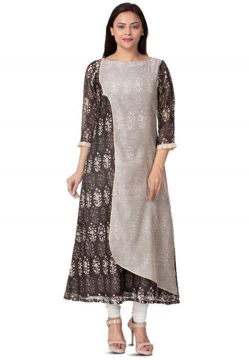 Hand Batik Printed Chanderi Cotton A Line Kurta in Beige and Brown