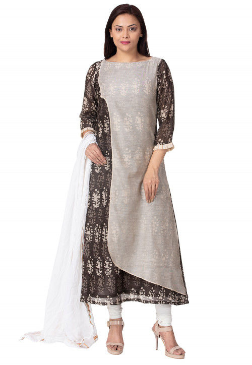 Batik Printed Chanderi Cotton A Line Suit in Beige and Brown