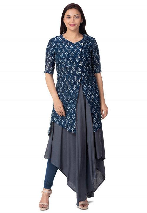 Batik Printed Chanderi Cotton Jacket Style Kurta in Blue