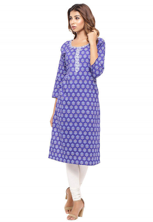Batik Printed Cotton Straight Kurta in Indigo Blue