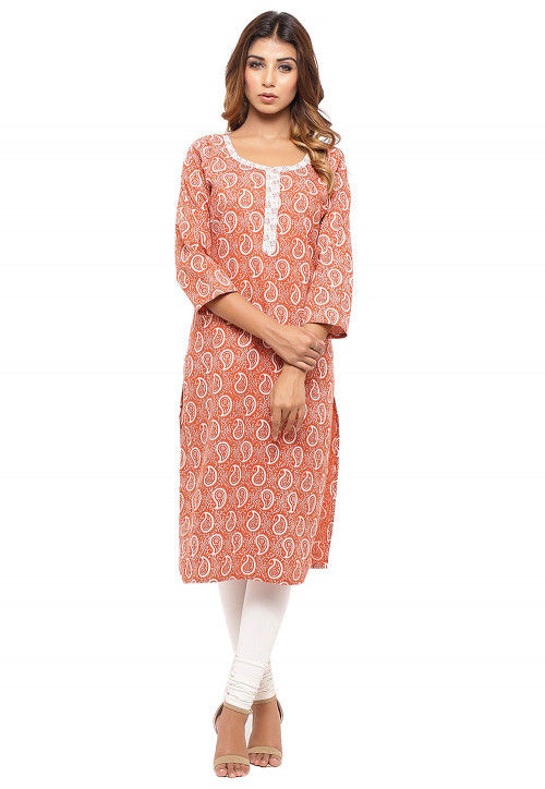Batik Printed Cotton Straight Kurta in Orange