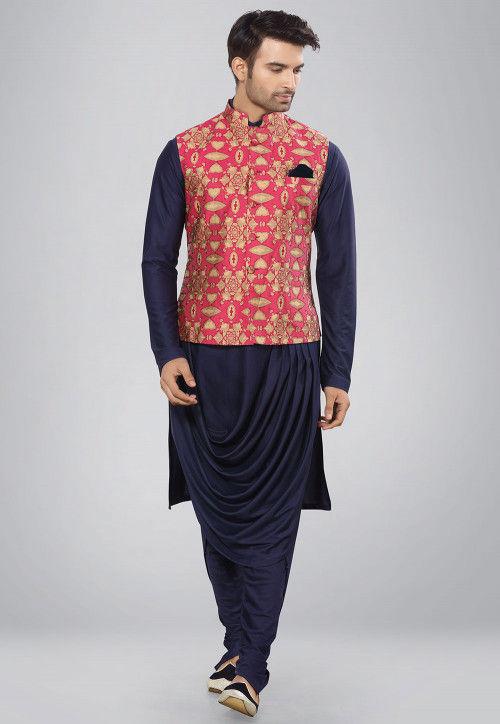 Batik Printed Lycra Cotton Kurta Set in Navy Blue