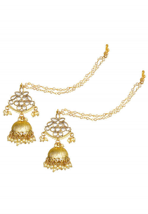 Beaded Jhumka Style Earring With Ear Chain Jts822