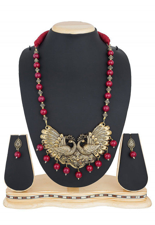 Beaded Peacock Style Long Necklace Set