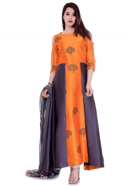 Block Printed Art Silk Abaya Style Suit in Orange and Grey