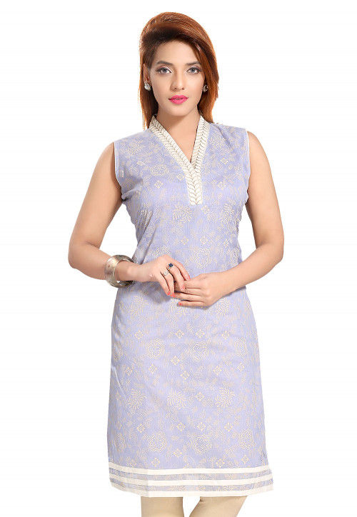 Block Printed Chanderi Silk Straight Kurti in Light Purple