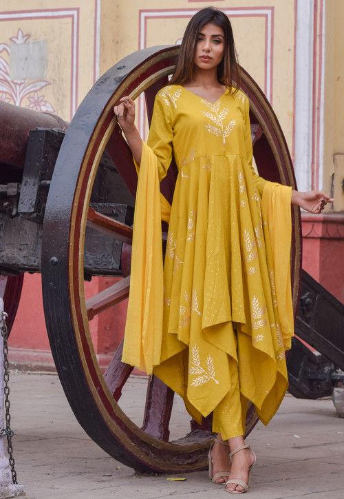 Block Printed Cotton Asymmetric Pakistani Suit in Mustard