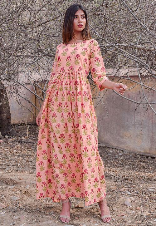 Block Printed Cotton Dress in Peach