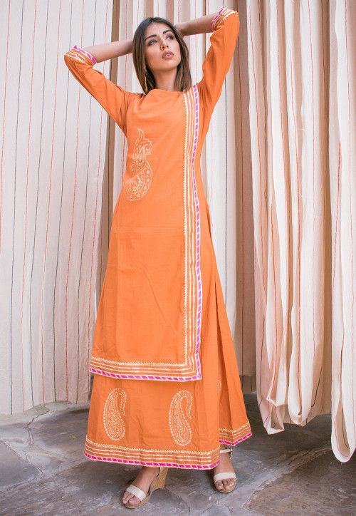 Block Printed Cotton Layered Kurta in Orange