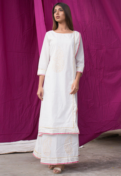 Block Printed Cotton Layered Kurta in White