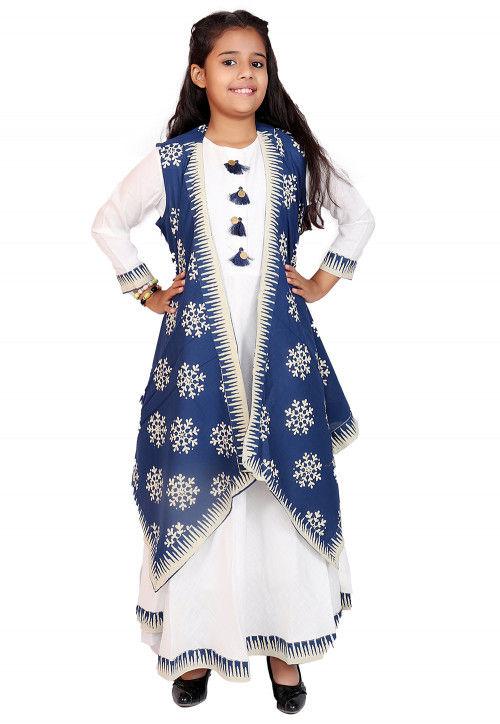 Block Printed Cotton Long Dress in White