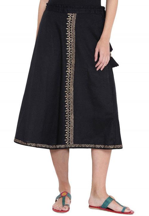 Block Printed Cotton Midi Skirt in Black