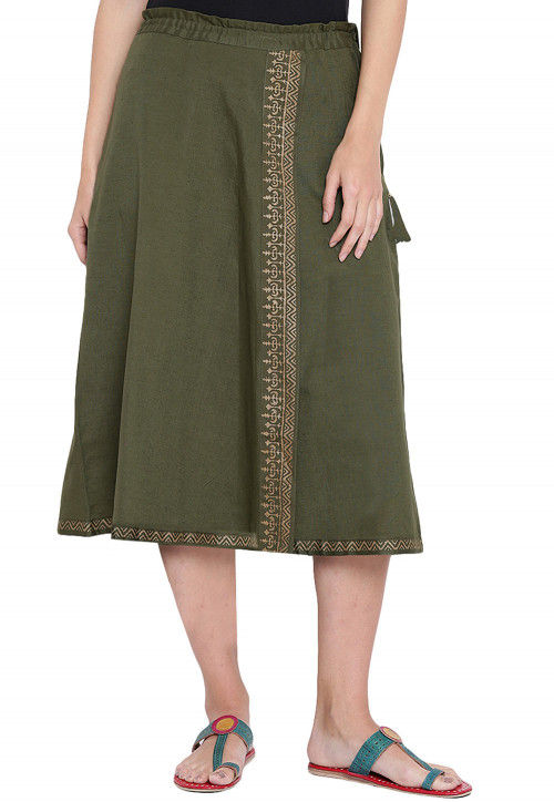 Block Printed Cotton Midi Skirt in Olive Green