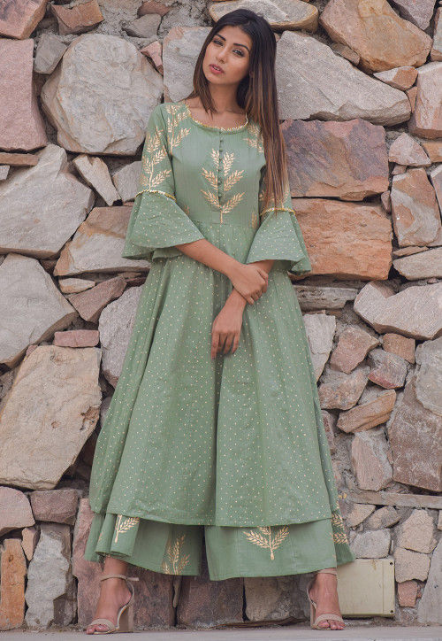 Block Printed Cotton Pakistani Suit in Dusty Green