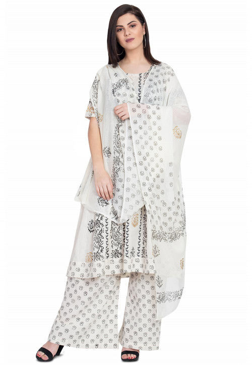 Block Printed Cotton Pakistani Suit in Off White