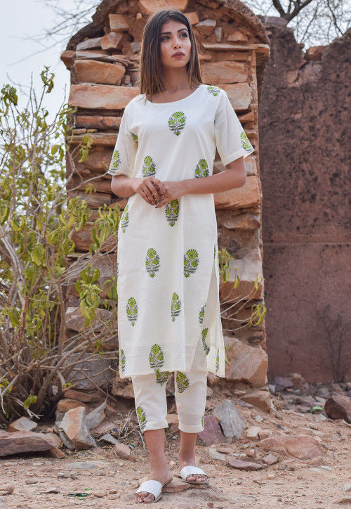 Block Printed Cotton Pakistani Suit in White