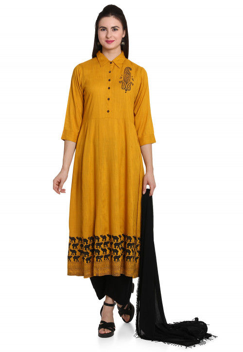 Block Printed Cotton Slub Pakistani Suit in Mustard