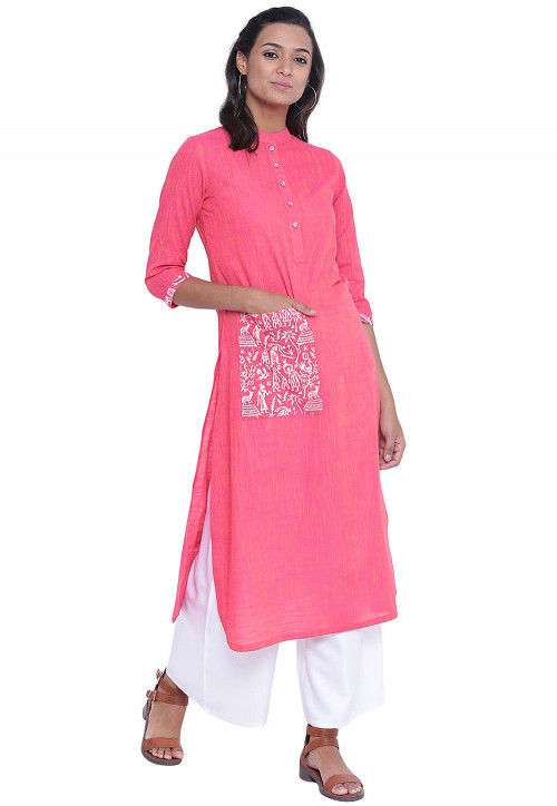 Block Printed Cotton Slub Straight Kurta in Pink