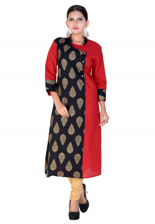 Block Printed Cotton Straight Kurta in Black and Red