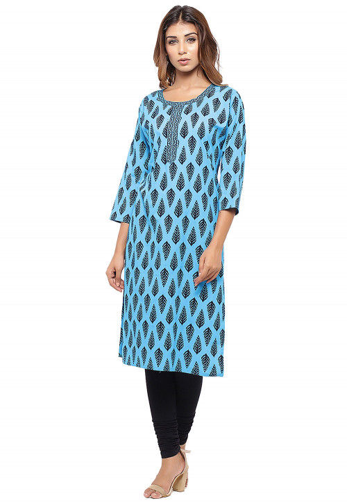 Block Printed Cotton Straight Kurta in Light Blue