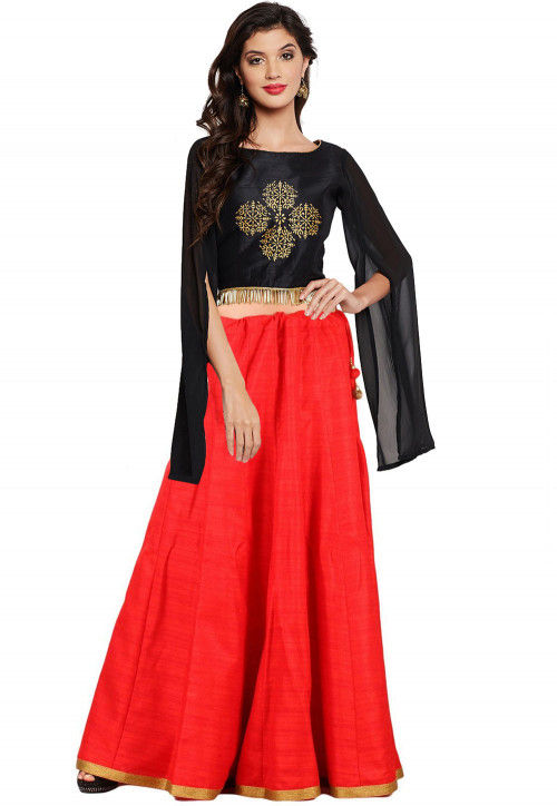 Block Printed Dupion Silk Crop Top with Skirt in Black and Red