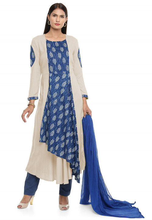 Block Printed Rayon a Line Suit in  Off White and Blue