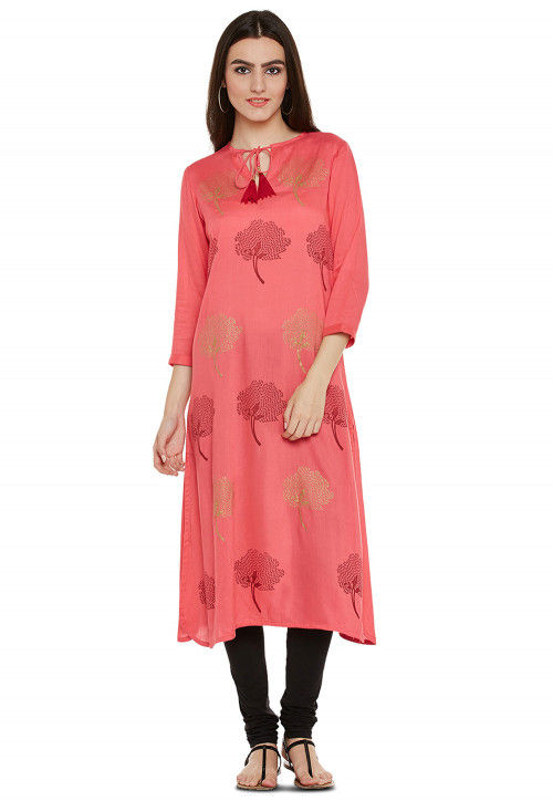 Block Printed Rayon Cotton A Line Kurta in Coral Pink