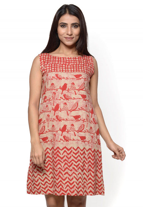 Block Printed Rayon Flared Dress in Beige and Red