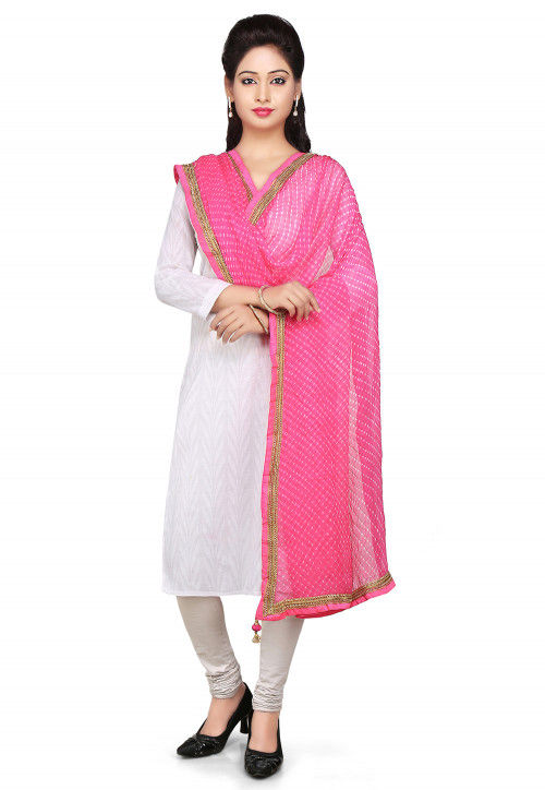 Printed Pure Georgette Dupatta in Pink