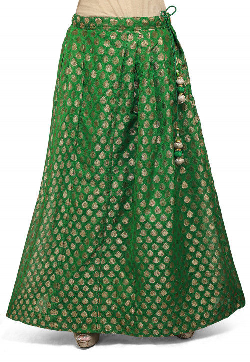 Woven Chanderi Silk Skirt in green