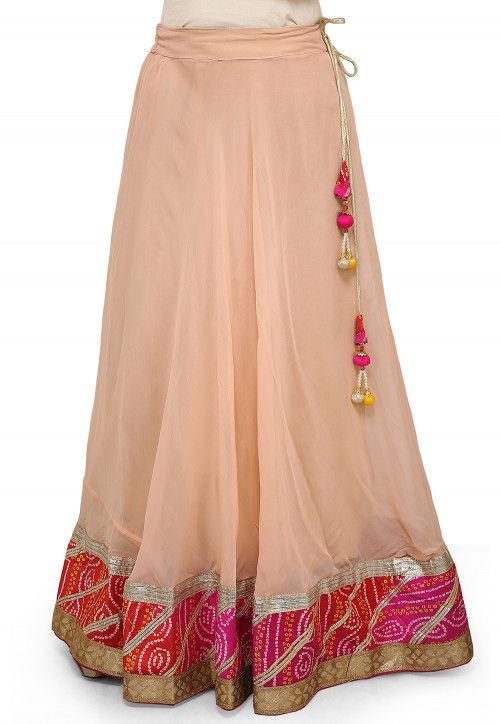 Bandhej Border Georgette Skirt in Light Peach