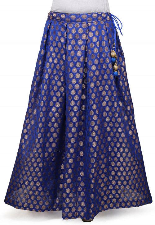 Woven Chanderi Silk Skirt in Blue