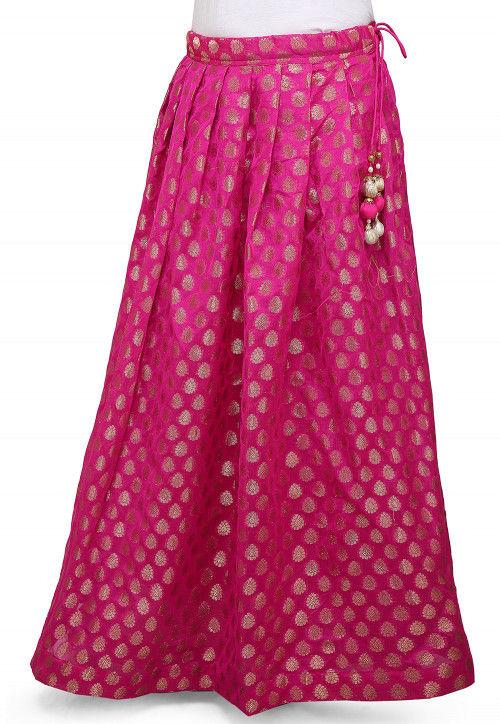 Woven Chanderi Silk Skirt in Fuchsia
