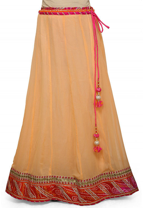 Bandhej Border Georgette Skirt in Peach