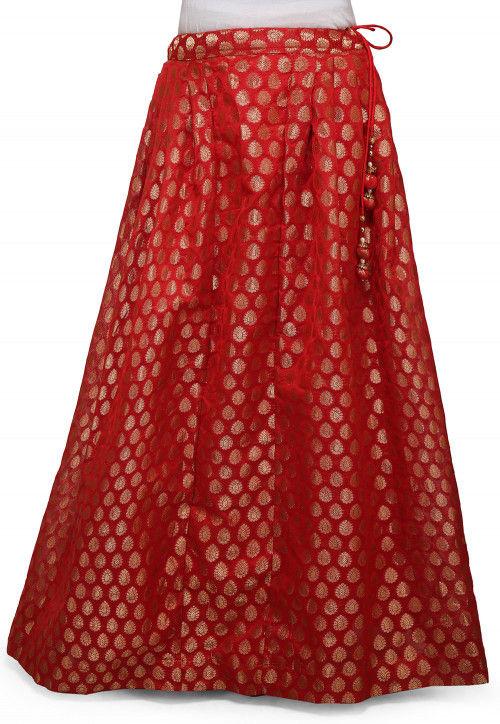 Woven Chanderi Silk Skirt in Red