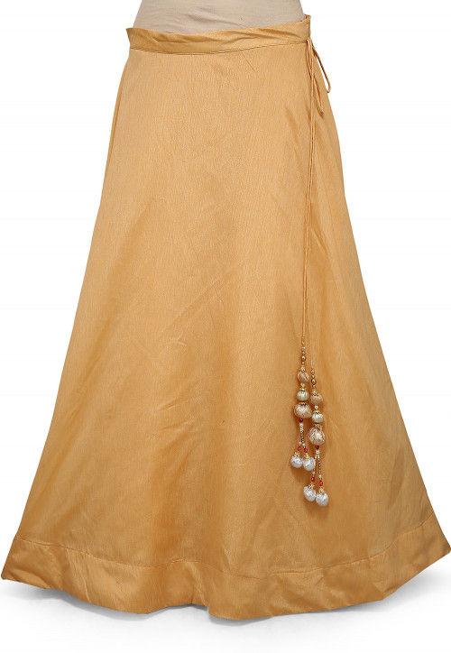 Plain Dupion Silk Skirt in Beige