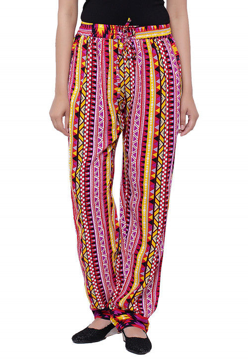Abstract Printed Cotton Pant in Multicolor