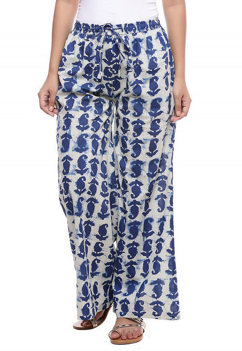 Block Printed Cotton Pallazo in White and Blue