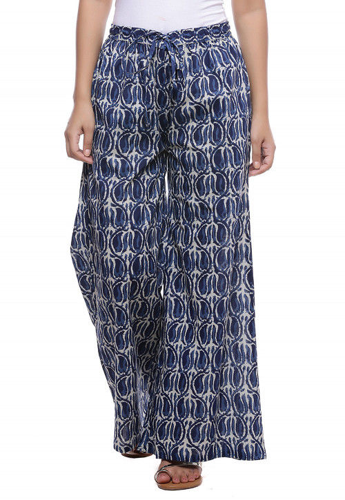 Dabu Printed Cotton Pallazo in White and Blue