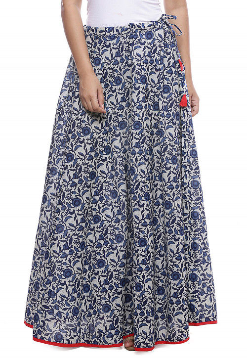 Block Printed Cotton Skirt in Off White and Blue