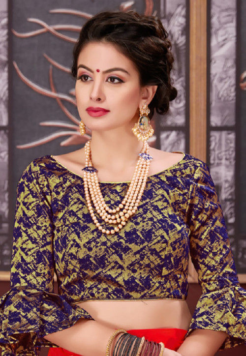 Brocade Blouse in Navy Blue and Golden