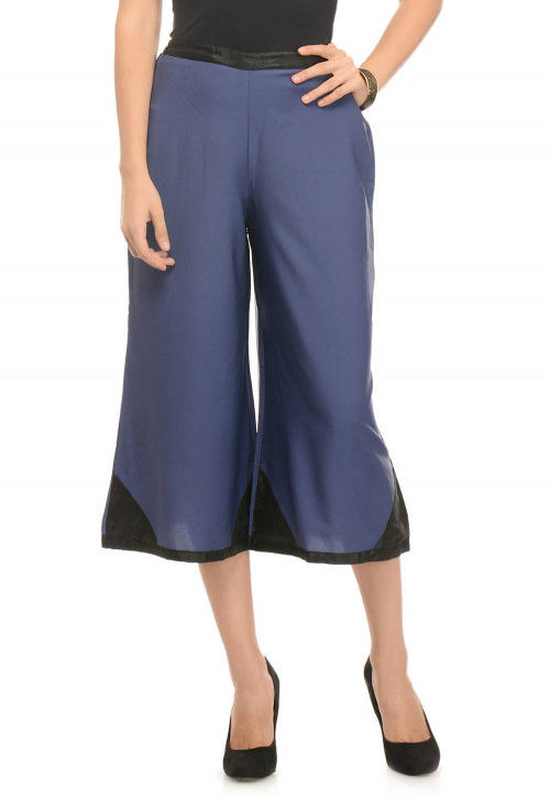 Crepe Culotte Pant in Blue