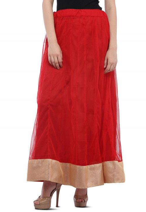 Contrast Border Net Skirt in Red