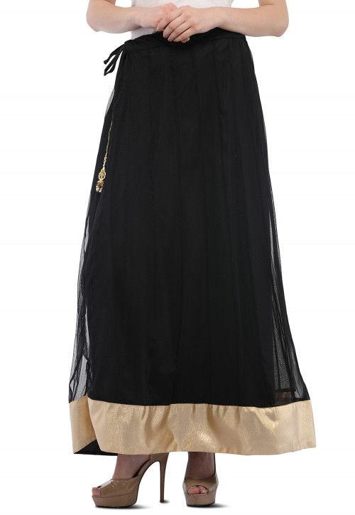 Contrast Border Net Skirt in Black