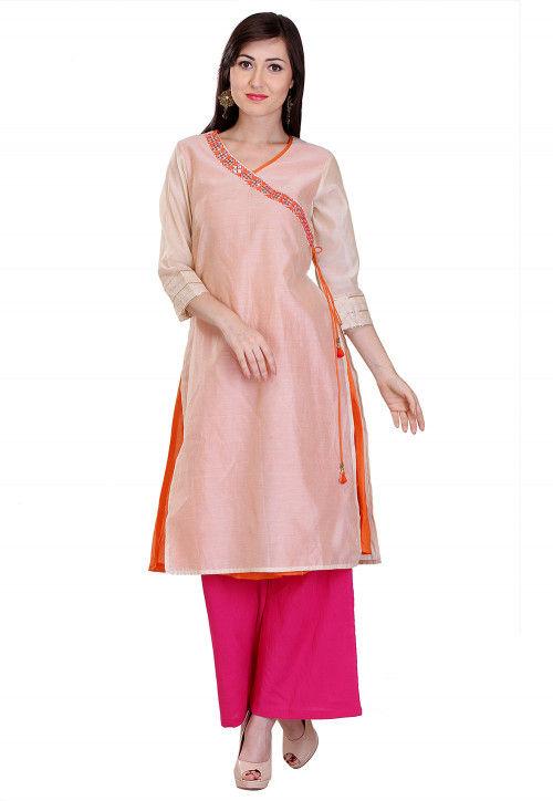 Chanderi Silk Angrakha Style Long Kurta in Beige and Orange